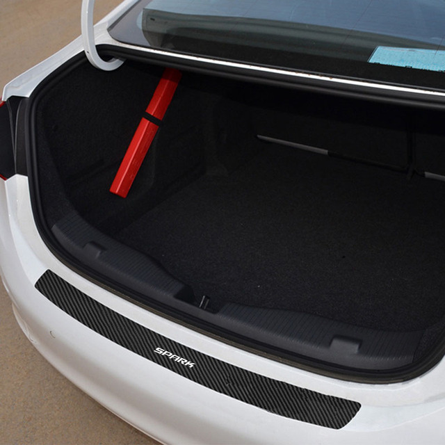 1PC Car Trunk Bumper Guard Pad Protector Sticker For Chevrolet Spark PU Leather Car Stickers Interior Accessories 2