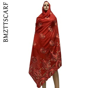 Image 2 - New Arrival African Women Scarf soft cotton embroidery scarfs for shawls ON SALES BM778