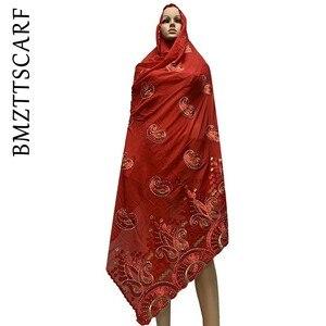 Image 2 - Yeni varış afrika kadınlar eşarp yumuşak pamuk nakış atkılar şal satış BM778