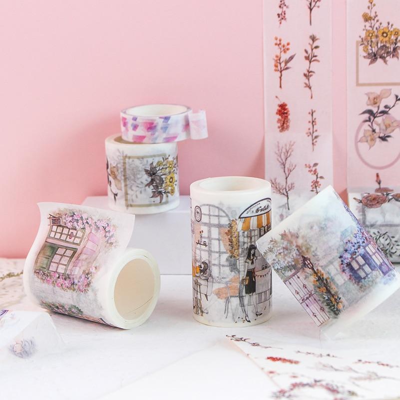 6 Designs NEW Flowers/ Windows/ Girls/ Pattern Japanese Washi Decorative Adhesive DIY Masking Paper Tape Stickers Label