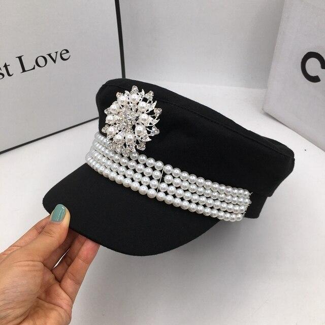Casquette en tissu pour femmes, casquette en tissu, automne et hiver Europe et états unis, petite casquette à perles, marine, style newsboy