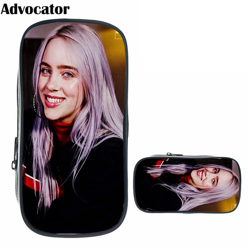 ADVOCATOR Hot Billie Eilish Pattern Pencil Box For Kids Boys Girls Large Capacity Makeup Pouch Cosmetic Bag For Make Up Case
