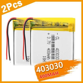 2PCSx3.7v Lithium Ion Battery Rechargeable 403030 400mAh Li-ion Polymer Batteries Power Bank Alarm Detector Bateria Replace
