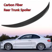 E82 Spoiler Wing Real Carbon Fiber Auto Kofferbak Boot Lip Spoiler Wing Deksel Voor Bmw E82 E88 120i 128i 135i Voor Coupe 2007-2012(China)