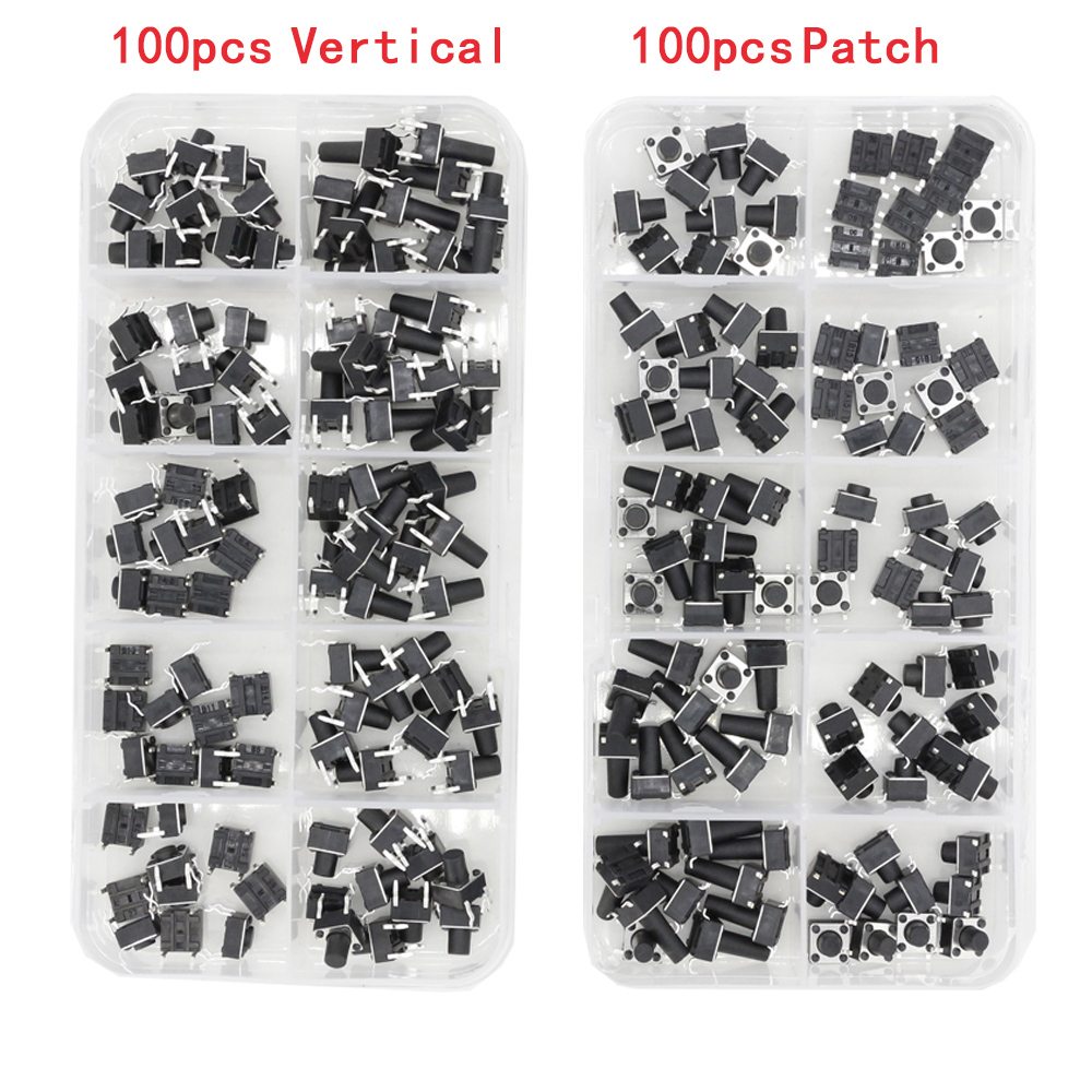 100 PCS Box Of Tact Switch 4-legged Vertical / Patch 6*6*4.1/4.3/5/6/6.5/7.5/8/9.3/10.5/12mm Micro Push Button Switch Key Switch