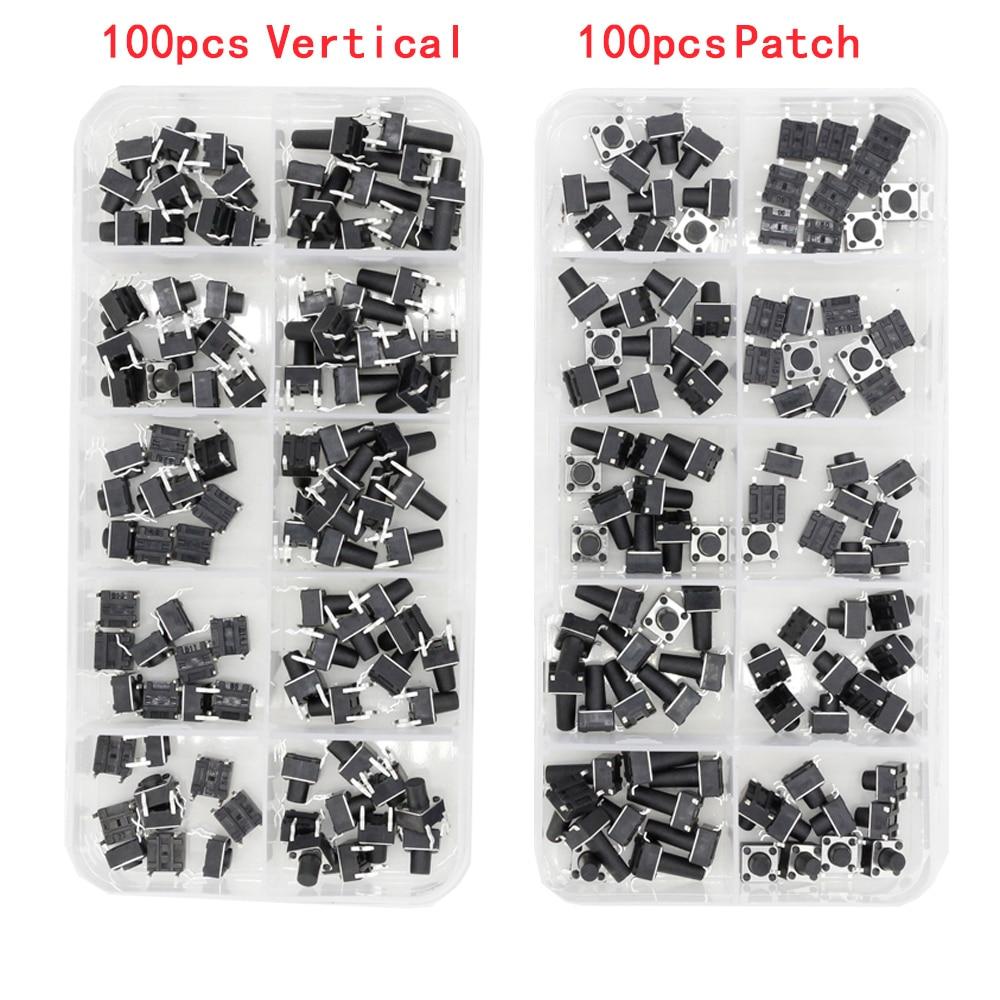 100 PCS Box Of Tact Switch 4-legged Vertical / Patch 6*6*4.1/4.3/5/6/6.5/7.5/8/9.3/10.5/12mm Micro Push Button Switch Key Switch