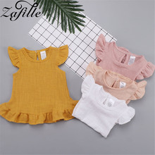 baby girl dress summer children clothing 2017 baby girl clothes cute newborn baby clothes roupas bebe infant kids dresses ZAFILLE Baby Girl Clothes Solid Cotton Newborn Infant Girls Summer Dress Flare Sleeve Toddler Kids Girl Clothing Children Dress