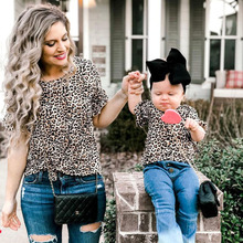 Leopard Print Family T Shirt Summer Short Sleeve Mother Daughter T-shirts Family Look Tops Family Matching Outfits Clothes summer family look clothes boy t shirts mother