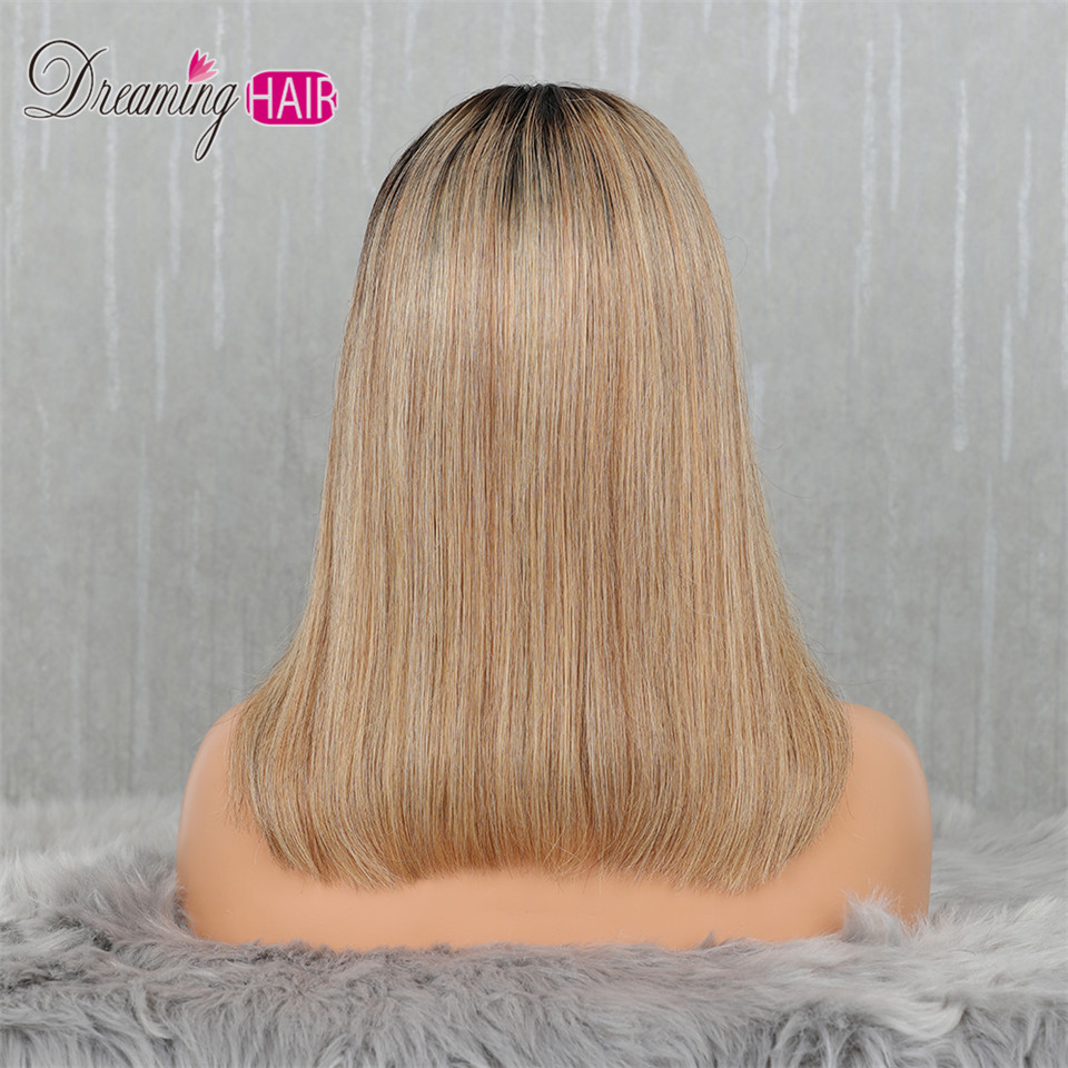 613 Short Cut 13X4 Bob Lace Front Human Hair Wig with Bangs Honey Blonde Color Transparent Lace Front Wigs For White Woman
