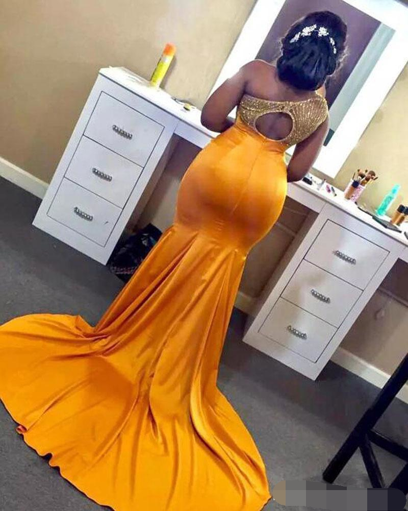 Gold Plus Mermaid Prom Dresses One Shoulder Hollow Back Beads vestidos de gala Long Formal Evening dress Special Occasion gown