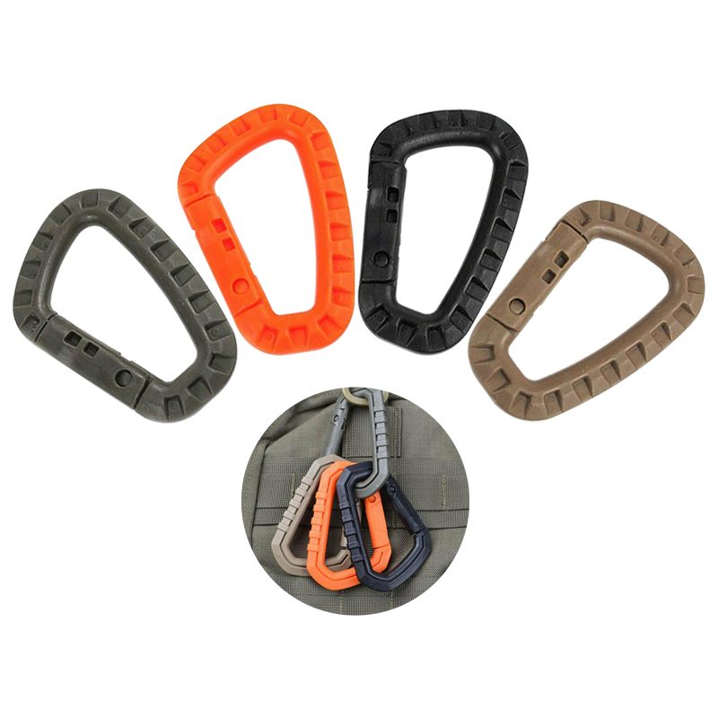 5pcs Outdoor Hiking Camping Climbing Buckles D-shaped ABS Plastic Carabiners Exploring Rappelling Gear Climing Accessories
