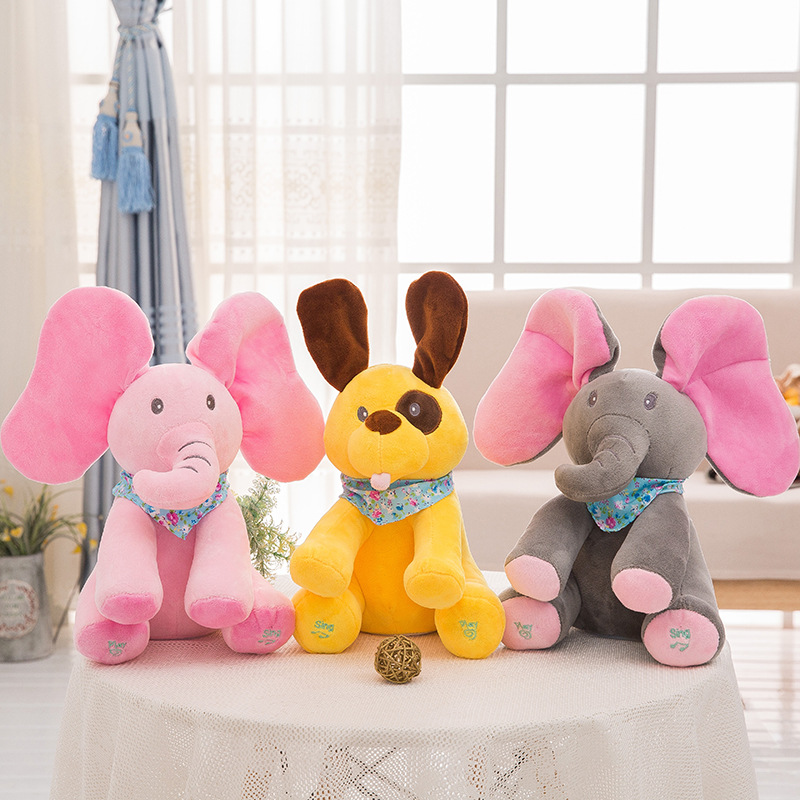 Peek A Boo Elephant Pig Dog Singing English Songs Moving Ears Stuffed Animals Plush Musical Doll Eletctric Cartoon Toys