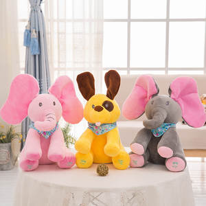 Toys Dog-Singing Peek Moving-Ears Elephant Animals Eletctric Boo Pig Music Plush-Musical-Doll
