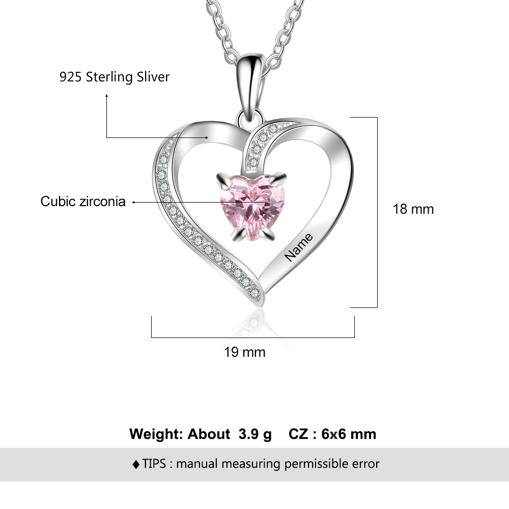 Personalize Necklace 925 Sterling Sliver Jewelry Heart Pendant Custom Name Birthstone Fashion Promise Anniversary Gift for Women