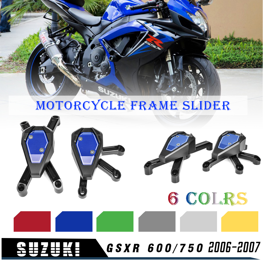 No Cut Frame Slider Protector For 2006 2007 2008 Suzuki Gsx-R Gsxr 600 750 BLACK