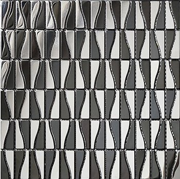 High quality stainless steel mosaic tiles, silver and black mixed tiles,LSST-M01