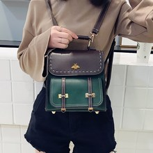 High Quality Vintage Pu Leather Women Backpack Famous Preppy Style Girl School Bag College Shoulder