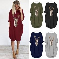 Plus Size dress Women Casual Loose Tops Elk Printting Sundress 2019 Autumn Winter Ladies O Neck Long Pocket Christmas Dresses 5