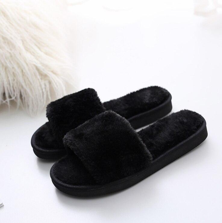 2019 New Winter Korean Women's Shoes Suede Non-slip Warm Fur Shoes Round Head Flat Bottom Female Cotton Dragging Models