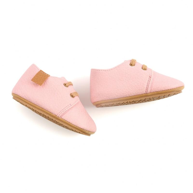 Кожаные Мокасины для новорожденных, Нескользящие, разноцветная обувь в стиле ретро для начинающих ходить мальчиков и девочек, резиновая подошва 4