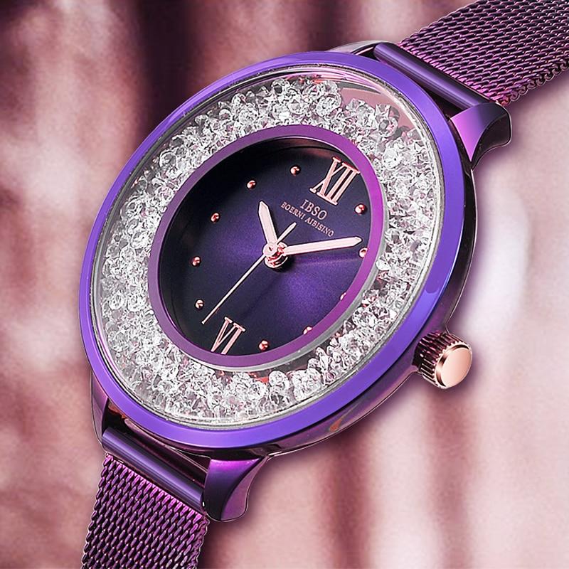 IBSO Fashion Purple Watches Women Stainless Steel Mesh Strap Quartz Wristwatches Women Relogio Feminino Montre Femme 2020