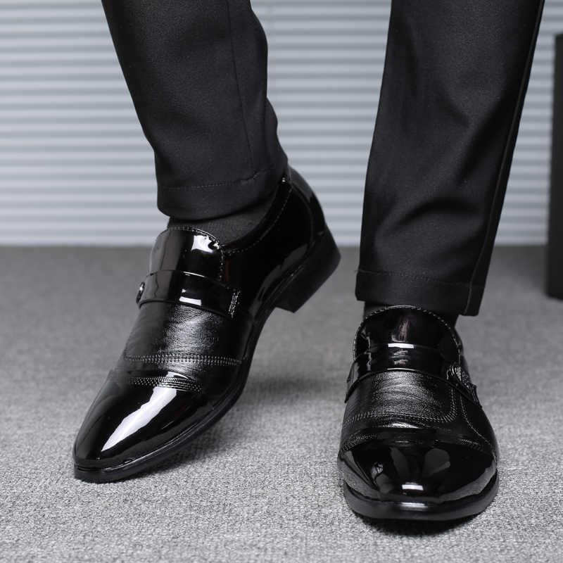 Zapatos de cuero genuino de PU para hombre, trajes de punta a punta para hombre, zapatos de boda de negocios, 2019 vestidos, Oxfords clásicos para hombre 2019