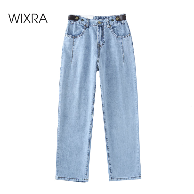 Wixra Women's Spring Autumn Demin Pants Long Pants Stylish Streetwear Casual High Waist Solid Pockets Jeans Trousers