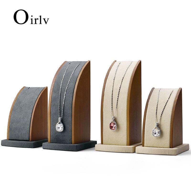 Oirlv 2 pièces/ensemble en bois massif Beige et gris foncé collier pendentif présentoir avec porte-bijoux d'exposition en microfibre