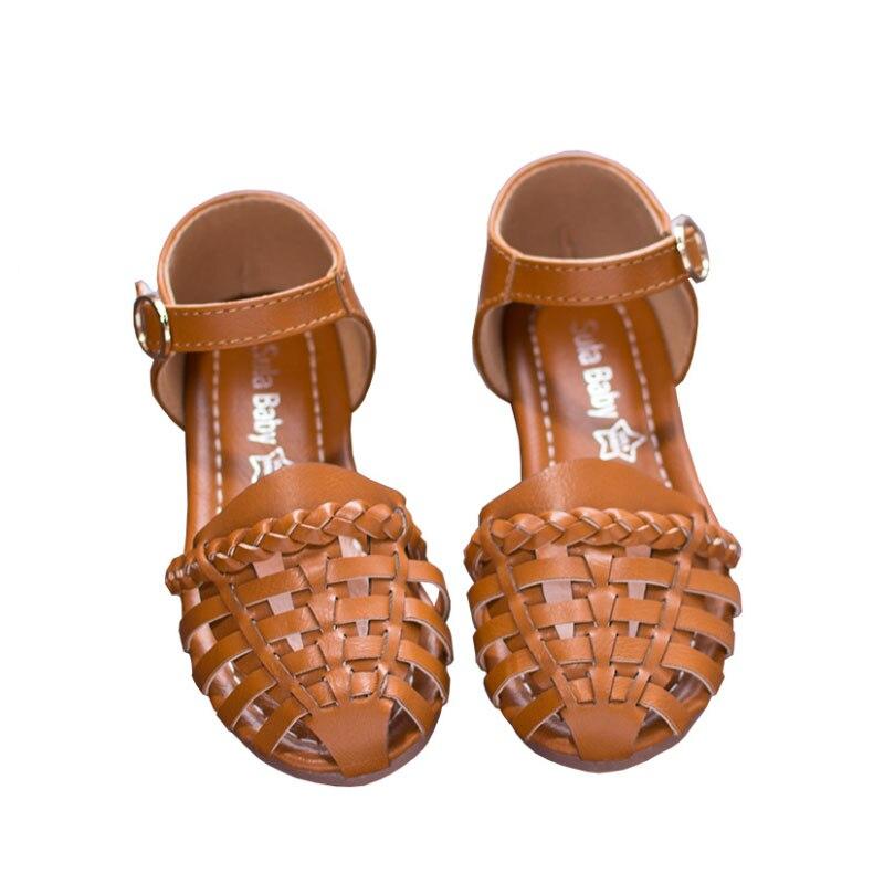 Girls Summer Sandals Baby Girl Toddler Kids Shoes Low Heeled Sweet Princess Soft Children's Beach Shoes Black Beige Brown D01271