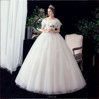 Hot Selling Vestidos De Novia 2020 New Sexy Boat Neck Lotus Leaf Slim Wedding Dress Noble Lace Plus Size Lace Up Princess Gown