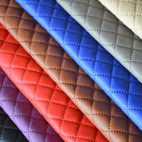 140*100cm furniture PU leather perforated embossing plaid fabric car interior roof fabric plaid car seat cushion fabric 3mm