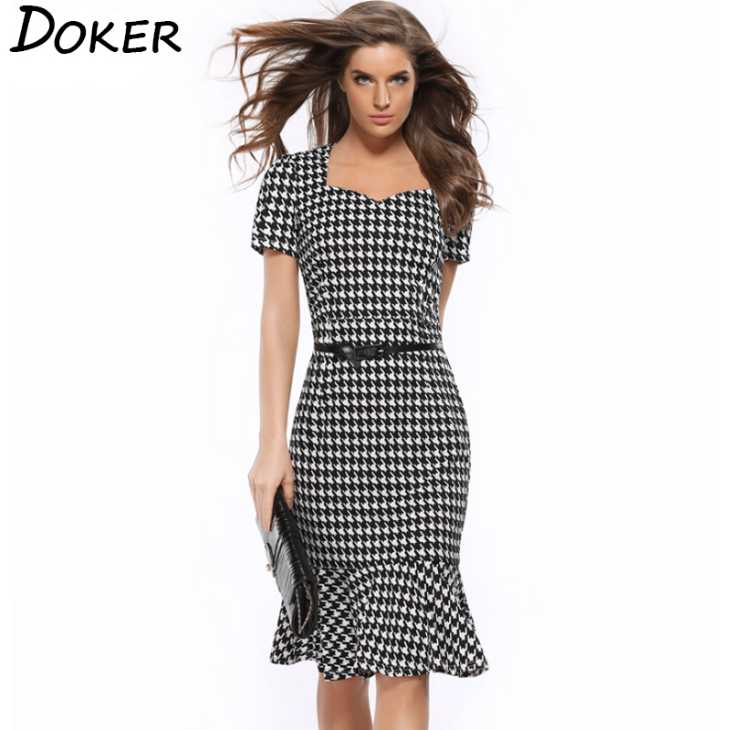 Women Elegant Slimming Dress Summer Houndstooth Work Office Dress Ladies Sexy Evening Party Mermaid Tunic Bodycon Dress Vestidos