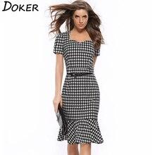Women Elegant Slimming Dress Summer Houndstooth Work Office Dress