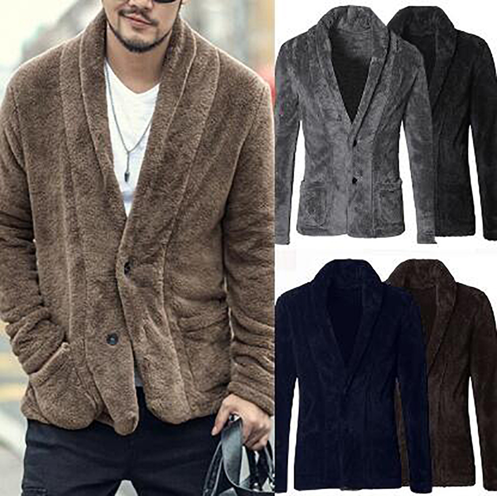 Men's Fashion Business Jacket gentleman Winter Wool Blends Coat Casual Long Sleeve V Neck Warm Outwear Fleece Cardigan Clothes