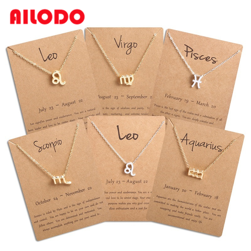 Ailodo Men Women 12 Horoscope Zodiac Sign Pendant Necklace Aries Leo 12 Constellations Jewelry Kids Christmas Gift Drop Shipping