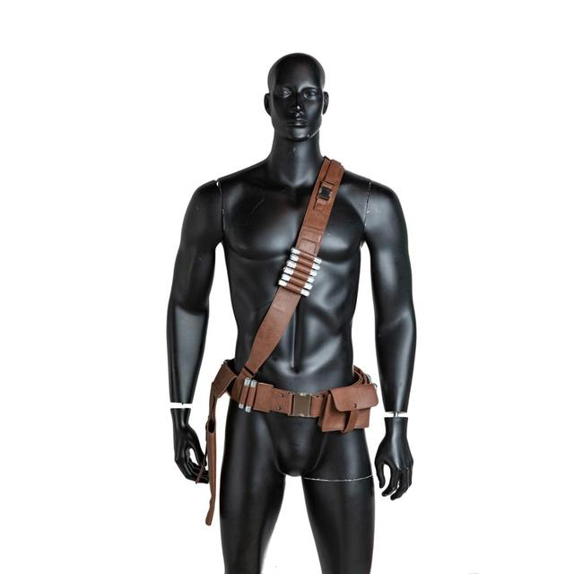 Coslive The Mandalorian PU Leather Belt  With Bullets Accessories Gun Holster Cosplay Costume Props 1:1 Scale Halloween Adults 3