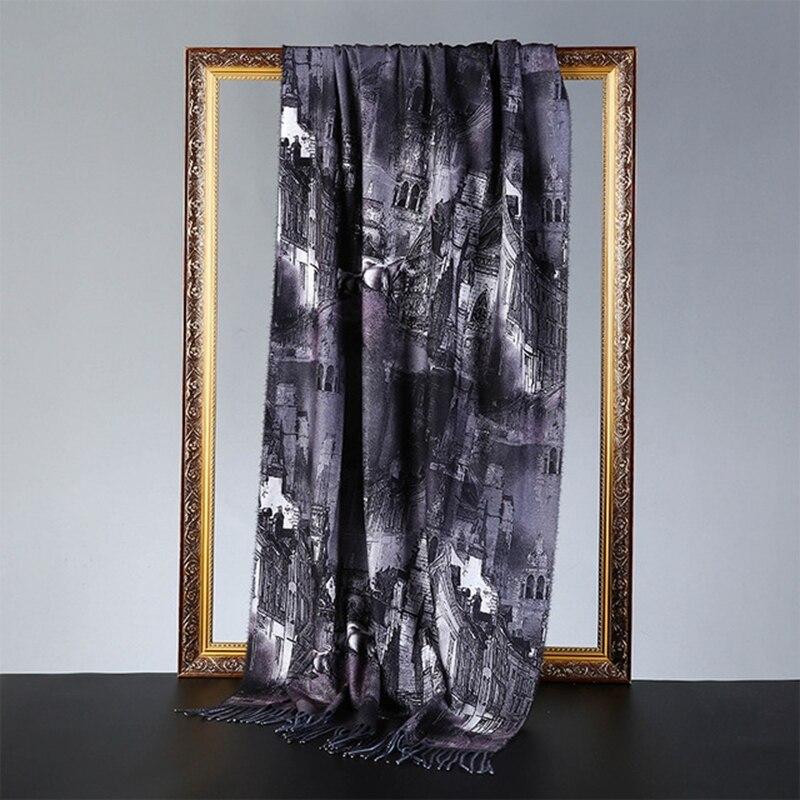 Oil Painting Cheongsam Long Travel scarf women Pretty pattern Female Knitted wool Scarf Shawl Blanket Shawl шарф женский зимний