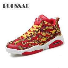 BOUSSAC  Men Basketball Shoes For Couples Breathable Air Cushion Sneakers Sport Ankle Boots Trainers Shoes Plus Size 35-47 boussac basketball shoes for men 2018 new high top sport comfort air cushion sneakers trainers basket homme zapatillas red
