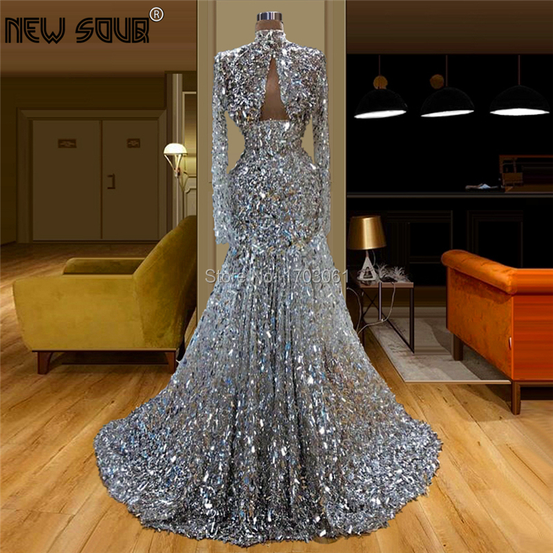Sparkly Silver Sequin Evening Dresses Vestidos Kaftans Long Sleeve Sexy Mermaid Arabic Women Dubai Design Formal Prom Gowns 2020