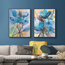 Watercolor Blue Flowers Poster Nordic Abstract Plant Canvas Painting Modern Wall Art Print Picture Aisle Living Room Decor