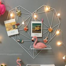 цена на Home Decoration Iron Storage Rack Holder Postcards Mesh Frame Bedroom Metal DIY Heart-Shaped Photo Grid Frame Wall Photos Frame