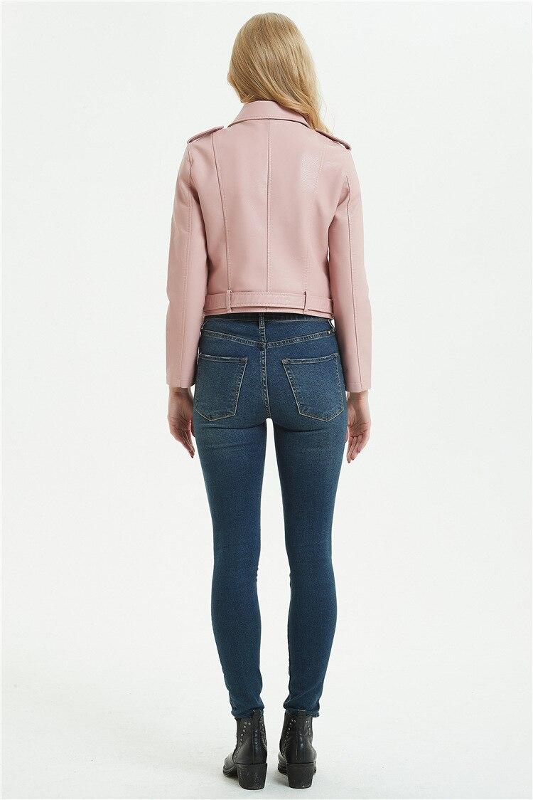 Outono marrom falso jaqueta de couro feminino