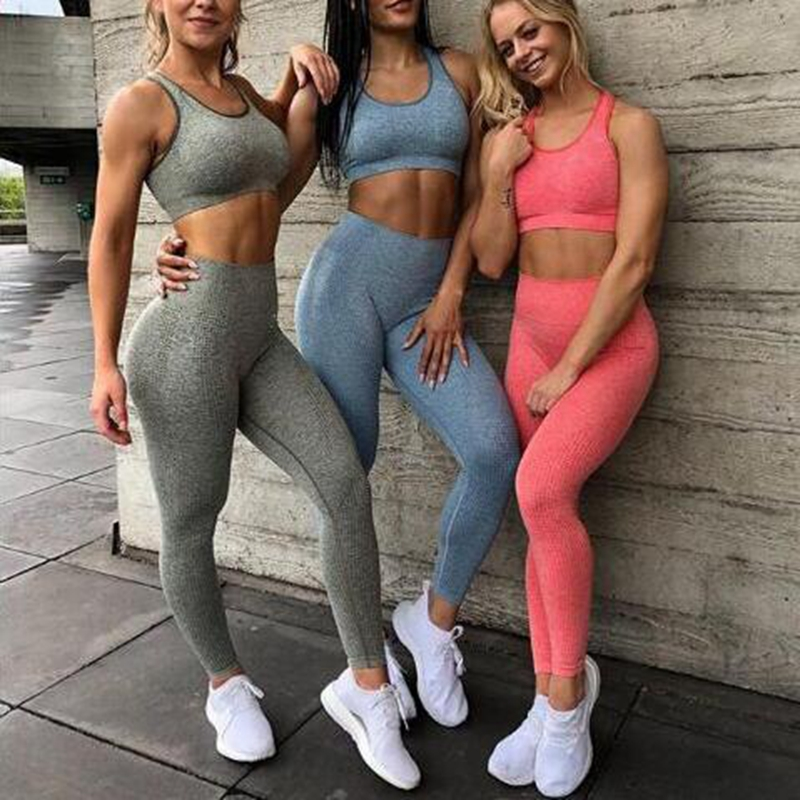 Womens Sports Wear Leggings Yoga Seamless Tops Gym Workout Outfit Running 2Pcs