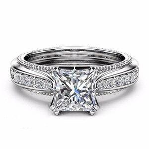 Image 4 - Rbnyd 2 senhoras de luxo romântico cristal anéis, quadrado elegante rosa ouro zircon casamento anéis de noivado, presentes de natal yr010