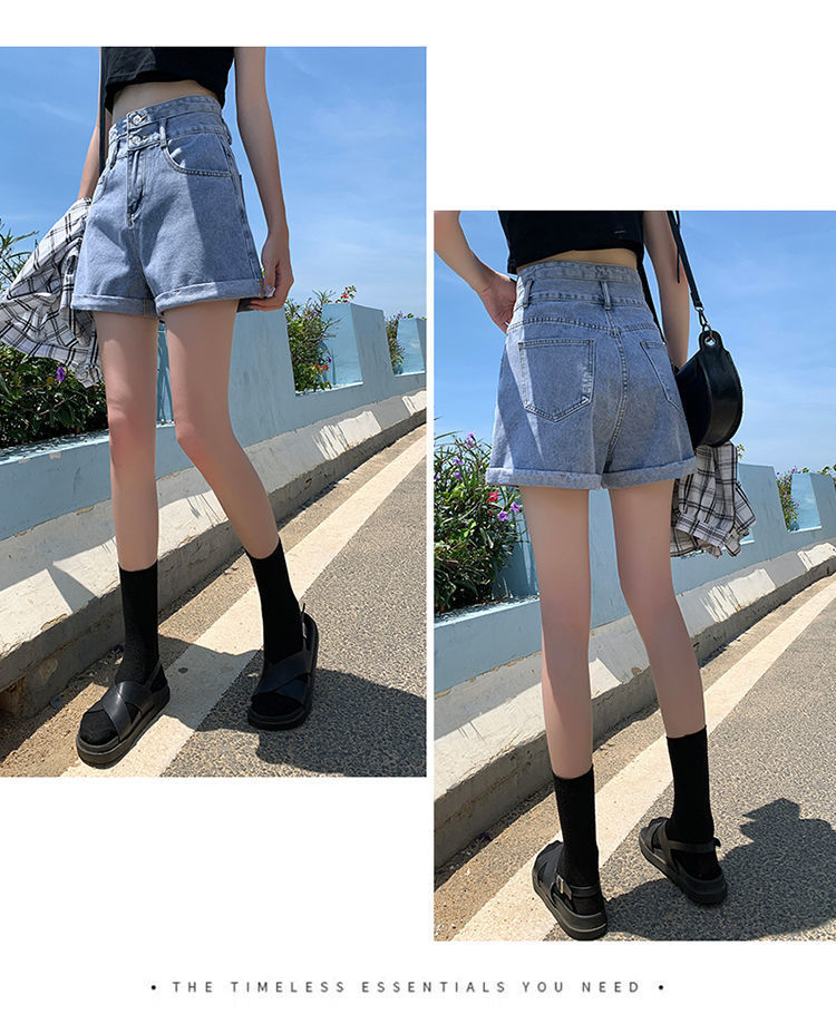 High Waisted Blue Wide Leg Women's Denim Shorts Classic Vintage Casual Female 2021 Summer Ladies Short Jeans for Women Y764
