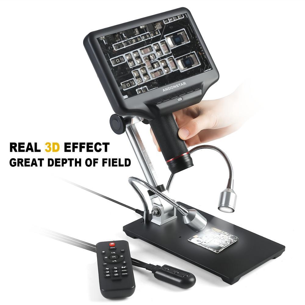 Andonstar1080p/60fps 3d digital/hdmi microscópio com 7 polegada de exibição para reparação do telefone móvel ferramenta de solda com suporte ajustável
