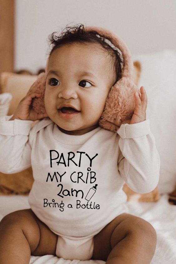 Cotton Newborn Jumpsuit Party At My Crib 2AM Bring A Bottle Funny Print Baby Romper Long Sleeve Infant Playsuit Clothes