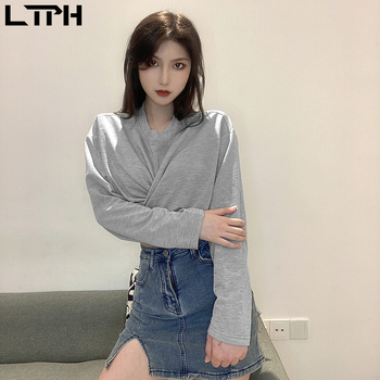LTPH gray cross Bandage Slim long sleeve pullovers short sweatshirt vintage Casual Fashion all-match Sweatshirts 2020 Autumn New raising tiny disciples sweatshirt funny slogan mother gift slogan christian pure casual pullovers vintage quote cross top l298