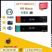 Venda quente gtmedia v8x satelite decodificador DVB-S2 atualizado gtmedia v8 nova h.265 1080p wi-fi embutido gtmedia v9 super nenhum aplicativo incluído