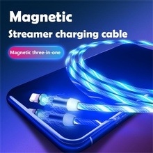 Magnetic USB Cable Flow Luminous LED Light For iPhone XR X 7 8 Micro Type C Charger Fast Charging Magnet Charge